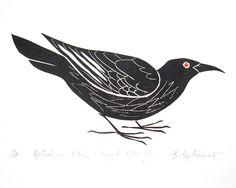 Australian White Winged Chough, Block Print . by Bridget Farmer