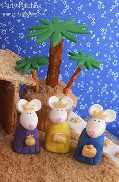 nativity characters made with rice krispies, chocolates and jordan almonds