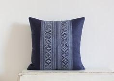 Block printed diamond pillow cushion cover 20 x 20 in navy Pillow Fabric, Diamond Pattern, Cushions, Throw Pillows, Cover, Prints, Navy, Handmade, Stuff To Buy