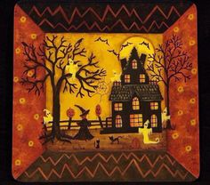 Halloween Folk Art Primitive Painting Hand by RavensBendFolkArt