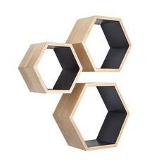Ash Wood Nesting Hexagon Shelves - Set of 3 | dotandbo.com