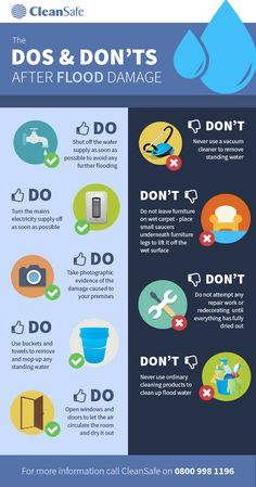 (Repeated due to recent & possible upcoming events) Dos and Dont of Flood Damage [infographic] Hurricane Preparedness, Emergency Preparedness Kit, Emergency Preparation, Survival Prepping, Tornado Preparedness, Survival Hacks, Flood Prevention, Disaster Kits, Flood Damage
