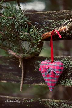 heart xmas decorations - would be fun to do in Buchanan tartan Tartan Christmas, Plaid Christmas, Country Christmas, Christmas And New Year, Winter Christmas, Christmas Crafts, Christmas Decorations, Christmas Ornaments, Merry Christmas