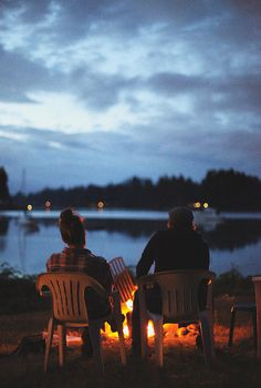 Campfire, plastic lawn chairs, her flannel, his hat, the lake, the twilight... What's there not to love?