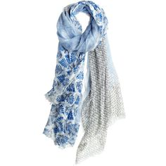 MANGROVE Andria Ditsy Block Printed Scarf ($150) ❤ liked on Polyvore featuring accessories, scarves, blue, blue scarves, lightweight scarves and blue shawl