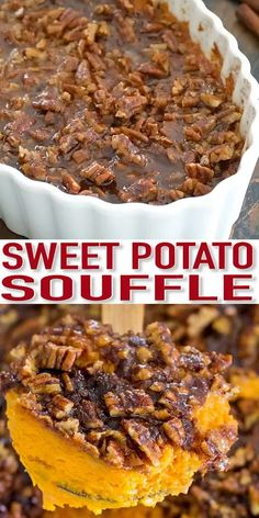 Sweet Potato Souffle Recipe [VIDEO] – Sweet and Savory Meals Sweet Potato Souffle is a delicious, rich and creamy side dish. Topped with crunchy, oven roasted pecans and a sprinkle of cinnamon sugar. Sweet Potato Casserole, Sweet Potato Recipes, Honey Baked Ham Sweet Potato Souffle Recipe, Black Folks Sweet Potato Pie Recipe, Sweet Potato Cobbler, Yam Casserole, Sweet Potato Pecan Pie, Fall Recipes, Holiday Recipes