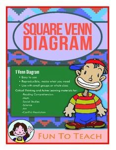 Freebie! 2 Square Venn Diagram - Graphic Organizer Students use this 2 squared graphic organizer to respond to literature. Compare and contrast 2 characters in a story, 2 different settings, or 2 events. Use this great Venn Diagram before, during and after reading to solidify student comprehension. Free!