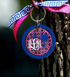 Acrylic Monogrammed Keychain from Honeybee lane Designs
