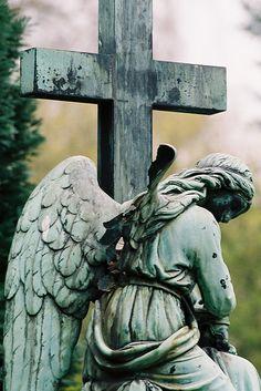cemetery statue angel kneels at cross broken wing of angel Taken at Cologne, North Rhine-Westphalia, DE Cemetery Angels, Cemetery Statues, Cemetery Art, Angel Statues, Old Cemeteries, Graveyards, Entertaining Angels, Angel Sculpture, Ideas