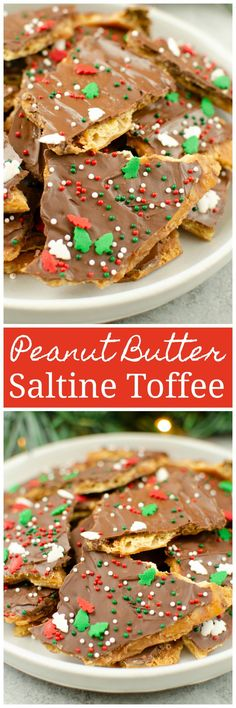 Peanut Butter Saltine Toffee - the classic saltine toffee with a peanut butter layer! So easy and delicious - Santa is going to love them! Brownie Desserts, Oreo Dessert, Mini Desserts, Coconut Dessert, Dessert Recipes, Frosting Recipes, Cupcake Recipes, Easy Desserts, Cupcakes