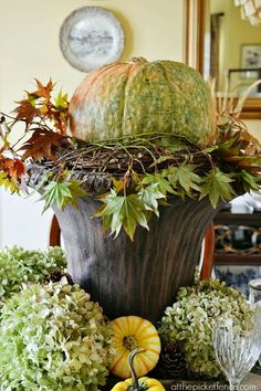 Fill an urn in the Fall with your favorite gourds... via @Lynda Wood Wood Quintero-Davids (NYCLQ) source: FOCAL POINT STYLING: DECORATING WITH URNS FOR THE SEASONS