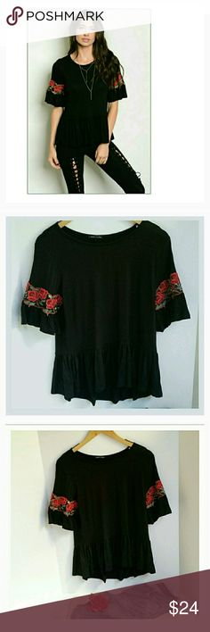 Truth and Beauty Floral Sleeve top Black jersey top with embroidered floral sleeves. 96% rayon/4% spandex. Various sizes. NWT. BOUTIQUE. (#H542) Tops Tees - Short Sleeve