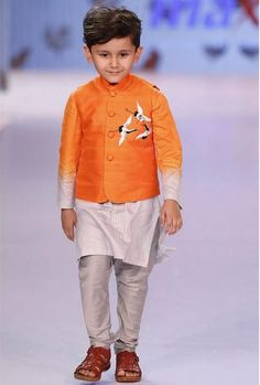 Designer and Stylish jacket with machine embroidered birds on pocket. Shaded kurta can be worn separately. Pay Cash on Delivery. Baby Boy Dress, Baby Boy Outfits, Kids Outfits, Kids Kurta, Kids Wear Boys, Kids Ethnic Wear, Nehru Jackets, Stylish Jackets, Designer Kids Clothes
