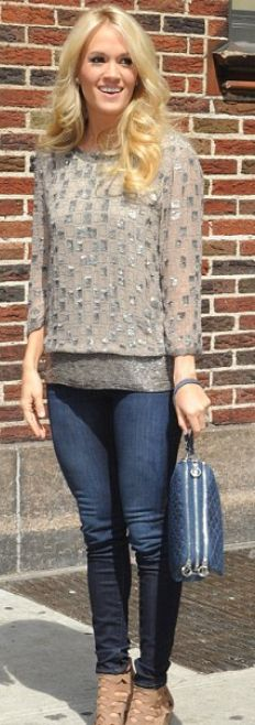 Who made Carrie Underwood's silver sequin top that she wore in New York on April 30, 2012?