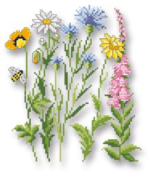 Wiesenblumen Hand Embroidery Patterns Flowers, Simple Embroidery, Beading Patterns, Cross Stitch Embroidery, Cross Stitch Patterns, Embroidery Designs, Cross Stitch Cards, Craft Patterns, Hama Beads