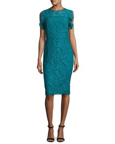 ESCADA RUFFLED-SLEEVE LACE DRESS, BAY. #escada #cloth #