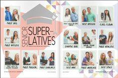 Sabria, LAYOUT, I really like this twist on superlatives, with the polaroid pict… Yearbook Superlatives, Senior Yearbook Ads, Teaching Yearbook, Yearbook Staff, Yearbook Pages, Yearbook Spreads, Yearbook Covers, Yearbook Theme, Yearbook Design Layout