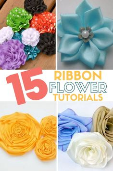 Create easy ribbon flowers with these step by step tutorials. Ribbon flowers are great for headbands, dresses, home decor and so much more! Christmas Paper Crafts, Holiday Crafts, Fun Crafts, Mason Jar Crafts, Mason Jar Diy, Handmade Flowers, Diy Flowers, Crafts To Make And Sell Unique, Tissue Paper Flowers