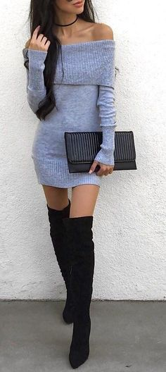 Grey Off Shoulder Dress // Black Over The Knee Boots // Black Leather Clutch