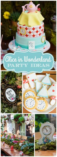 This Alice in Wonderland party has colorful flowers, rabbits, clocks & keys!