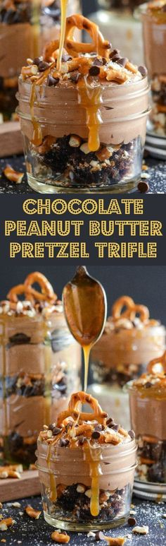 Chocolate Brownie Peanut Butter Pretzel Trifle topped with Caramel Sauce! Salty…
