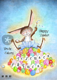 """Joyeuses Pâques Bleu, Happy Easter Blue, Frohe Ostern Blau"" Grafik/Illustration von sarah-emmanuelle-burg jetzt als Poster, Kunstdruck oder Grußkarte kaufen.."