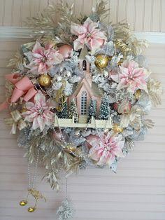 Shabby Pink Christmas Flocked Poinsettias Church Bottle Brush Trees Ornaments | eBay