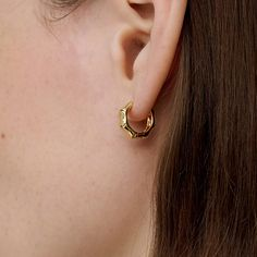 18k Gold Mini Texture Earrings Mini Huggies Hoop Earrings   Etsy Etsy Earrings, Hoop Earrings, Gifts For My Girlfriend, Body Lotion, Room Maker, 18k Gold, Gifts For Her, Bling, Texture