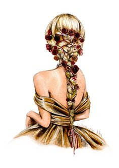 Fashion Illustration Speed Painting with Ink - Drawing On Demand Fashion Design Drawings, Fashion Sketches, Golden Barbie, Illustration Mode, Illustrations, Fashion Illustration Hair, Megan Hess, Girly M, Girly Drawings
