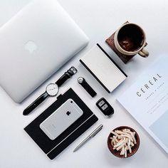 macbook | coffee | magazine | ❀ krystalynlaura