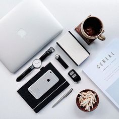 macbook | coffee | magazine | ❀ krystalynlaura