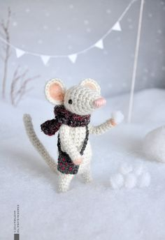 Celeste  Little Crocheted Mouse  Plushie  Stuffed toy  by eveluche, $80.00