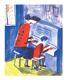 The piano lesson - Experimenting with a new technique for an upcoming book.