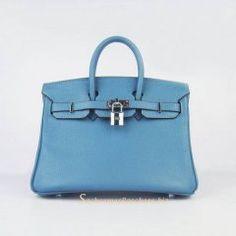 Sacs Hermès Pas Cher Birkin 25cm Tote Sac Bleu Cuir Silver 6068 €191.00