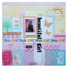 "Layout ""beautiful girl"" with papers: Amy Tangerine ""Yes please"" collection."