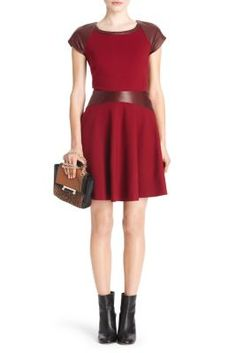 Delyse Fit and Flare Leather Dress (leather accents) In new aubergine/deep cherry Style #: D7233301T13