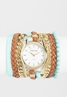 Maurices Wrap Watch With Mint Beads, Chain, And Faux Leather