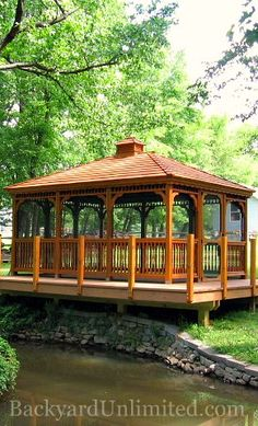 Backyard Unlimited builds quality gazebos in a wide array of sizes and styles. Visit us to view our Amish-built wooden and vinyl gazebos today! Gazebo Pergola, Screened Gazebo, Hot Tub Gazebo, Gazebo Plans, Gazebo Ideas, Gazebo Curtains, Cement Planters, Jacuzzi, Cabana