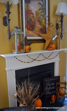 Fall mantle with garland made using wooden craft beads
