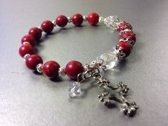 Red Turquoise Prayer Beads Rosary Bracelet Cross by TheArtOfFaith,