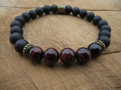 FATHER'S DAY GIFT/Matte Onyx Red Tiger Eye Bracelet/Stretch Beaded Gemstones Bracelet/Wrist Mala/Grounding/Energy/Mens Stone Yoga Bracelet