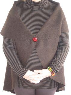 Veste 3/4 en laine bouillie sans couture T.44 - paminatelier.com