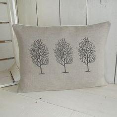 ' Triple Tree ' Natural Linen Cushion, 43.18 x 33.02cm, £34