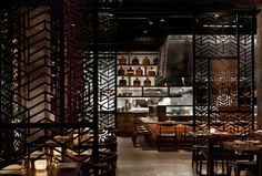 Luxury Asian Restaurant Interior Design in Modern Decorating Style: Fascinating Luxury Minimalist Asian Restaurant Interior Design Modern Style With Dark Room Interior Decoration Ideas And Small Bar Stool With Concrete Flooring Decor For Home Design Inspiration ~ BelMav Restaurant Inspiration