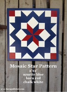 This can also be hung as a diamond shape. A hand painted x quilt square… Barn Quilt Designs, Barn Quilt Patterns, Star Patterns, Quilting Designs, Blue Quilts, Star Quilts, Quilt Blocks, Flag Quilt, Quilt Art