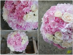 Ramo de novia en tonos rosas con hortensia, peonias y rosas.Mayula Flores.