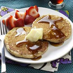 Brown Sugar Oatmeal Pancakes Recipe from Taste of Home -- shared by Sharon W. Bickett of Chester, South Carolina