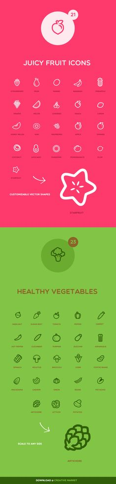 Juicy Fruit and Vegetable Icons by Patrick, via Behance