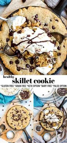 Skillet Chocolate Chip Cookie, Healthy Chocolate Chip Cookies, Skillet Cookie, Paleo Cookies, Gluten Free Cookies, Chocolate Chips, Healthy Sweets, Healthy Dessert Recipes, Cookie Recipes