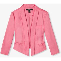 FOREVER 21 Cropped Shawl Collar Blazer ($17) ❤ liked on Polyvore featuring outerwear, jackets, blazers, pink, tops, 3/4 sleeve blazer, embellished jacket, cropped jacket, lightweight jackets and forever 21 jacket